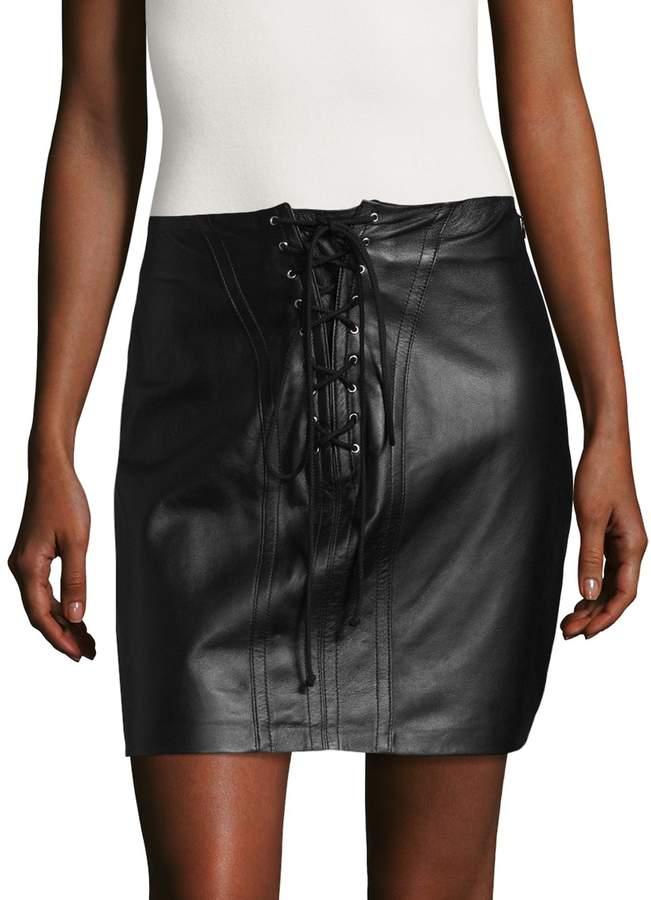 Derek Lam 10 Crosby Women's Lace Leather Mini Skirt