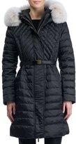 Gorski Apres-Ski Hooded Quilted Puffer Ski Jacket with Fox Fur Trim