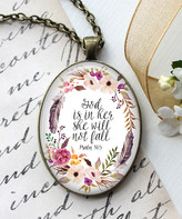 Designs By Karamarie Designs by KaraMarie Women's Necklaces - White & Bronzetone 'She Will Not Fall' Pendant Necklace