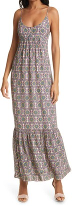 Nicole Miller Glassflower Silk Blend Maxi Dress