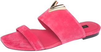 Louis Vuitton Pink Suede Bayfront Slide Flats Size 38