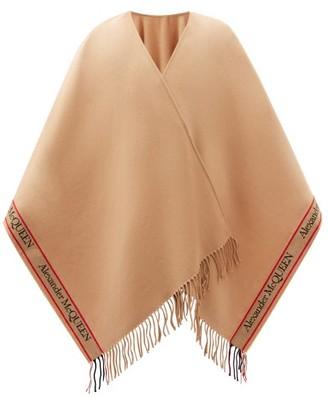 Alexander McQueen Logo-jacquard Fringed Wool-blend Cape - Camel