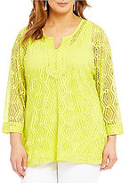 Multiples Plus 3/4 Sleeve Notch Neck Solid Tunic