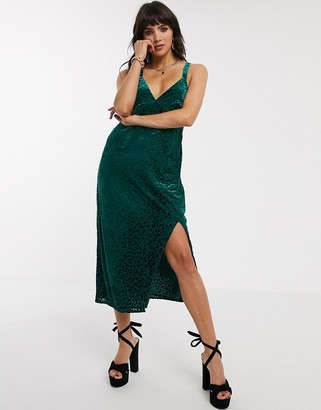 Jagger And Stone Jagger & Stone midi cami dress with ring detail in velvet leopard