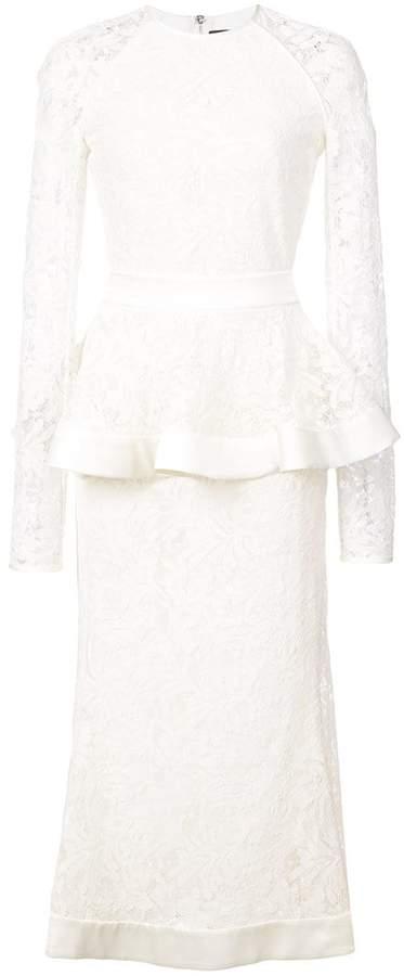 David Koma peplum detail lace dress