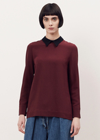 Marni wine long sleeve contrast collar blouse