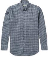 Canali Button-Down Collar Checked Linen Shirt