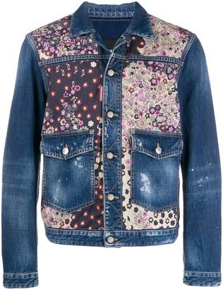 DSQUARED2 floral print panelled denim jacket