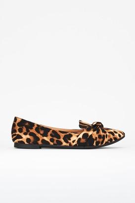 Wallis Brown Animal Print Knot Ballerina Shoe