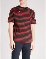 McQ Stripe and eye-print cotton-jersey T-shirt
