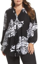 Melissa McCarthy Plus Size Women's Pintuck Pleated Blouse