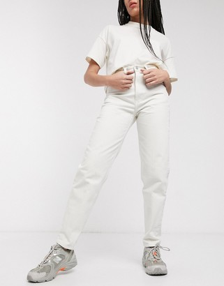 Weekday Lash organic cotton mom jeans in tinted ecru