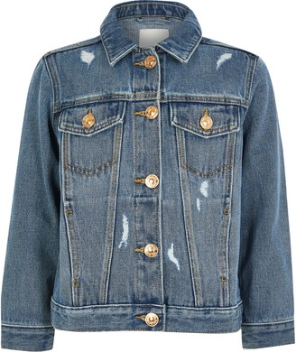 River Island Girls Blue ripped denim jacket