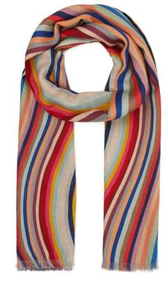 Paul Smith Swirl And Leopard Print Reversible Wool-Blend Scarf
