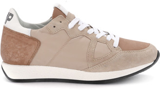 Philippe Model Monaco Vintage Nude Pink Suede And Fabric Sneaker