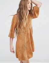 Moon River Faux Suede Mid Sleeve Dress With Trim