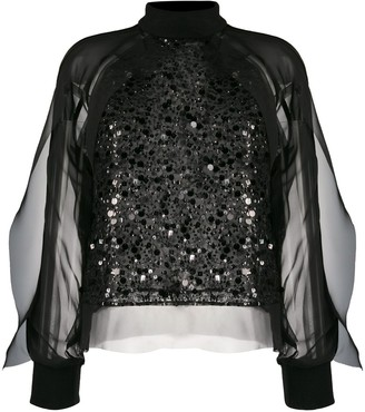 Sacai Sequin Embroidered Sheer Blouse