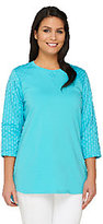 As Is Denim & Co. Active Regular Tunic with Knit Eyelet Trim