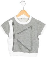 Kenzo Girls' Zip-Embellished Crew Neck Top