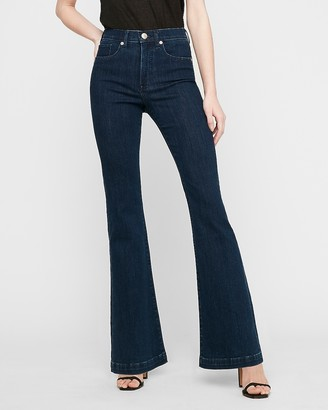 Express High Waisted Dark Wash Flare Jeans