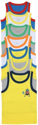 Stella McCartney Kids Set of 7 cotton-jersey tank tops