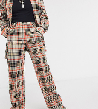 Collusion wide leg pants in check