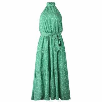 Nobrand Summer Fashion Print Polka Dot Halter Open Back lace up Irregular Women's Dress Green