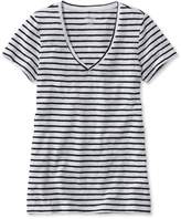 L.L. Bean L.L.Bean Womens West End Fitted Tee, Short-Sleeve V-Neck Stripe