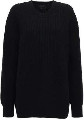 Ann Demeulemeester Ribbed Knit Wool Crewneck Sweater