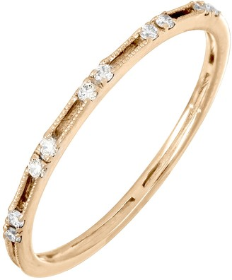 Bony Levy 18K Rose Gold Diamond Skinny Stackable Band Ring - 0.08 ctw