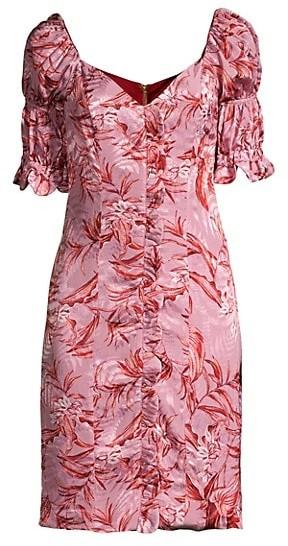 Azulu Laguito Layered Puff-Sleeve Printed Dress