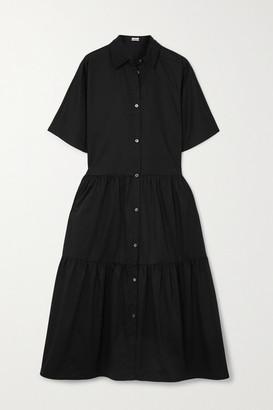 Co Tiered Cotton-poplin Midi Shirt Dress - Black
