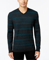 Alfani Collection Men's Horizonal Chevron Stripe V-Neck Sweater, Regular Fit, Only at Macy's