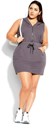 City Chic Double Time Sleeveless Dress - granite