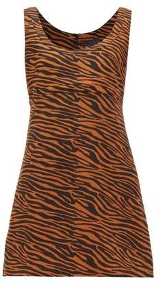 Lisa Marie Fernandez Zani Tiger-jacquard Linen Mini Dress - Womens - Brown Print