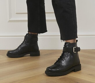 Office Alpaca Buckle Lace up Biker Boots Black Leather