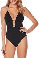 Laundry by Shelli Segal Solid Scoop Back Plunge One-Piece
