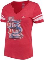 Majestic Women's Red/White St. Louis Cardinals Slugging Percentage V-Notch T-Shirt