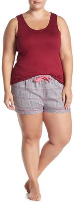 Joe Fresh Scoop Tank Top & Plaid Shorts Pajama 2-Piece Set (Plus Size)