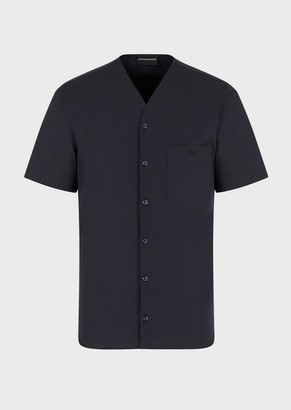 Emporio Armani Stretch Cotton Shirt With V-Neck And Logo Pocket