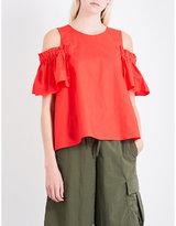 Izzue Ruffled cold-shoulder cotton-poplin top