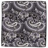 Black Idro Italian Silk Satin Paisley Pocket Square