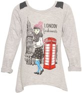 "Mini Moca Big Girls Grey ""London Fashionista"" Print Lace Detail Shirt 7"