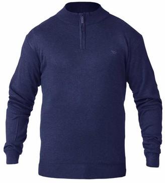 DUKE D555 Mens Kingsize Big Tall Plain Thin Knit Quarter Zip Neck Sweater Jumper Top -Navy-3XL