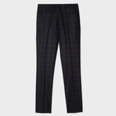 Paul Smith Men's Charcoal Grey Textured-Windowpane Check Trousers