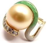 Mikimoto 18K Yellow Gold Diamond Golden Pearl Enamel Ring Size 4.25