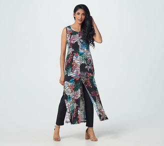 Women With Control Attitudes by Renee Petite Duster with Front Slits and Pull-On Pants