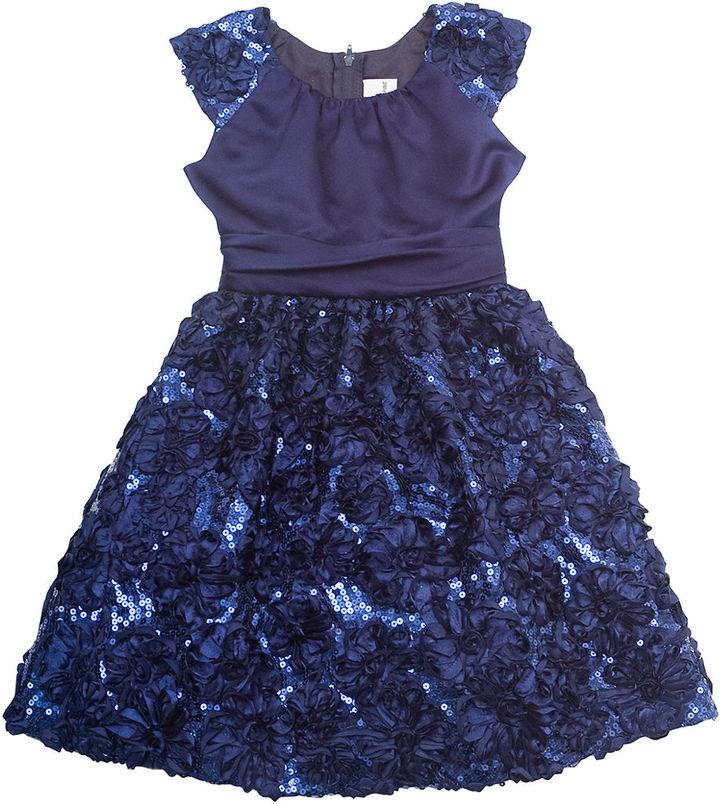 Rare Editions Girls 7-16 Satin & Sequin Dress
