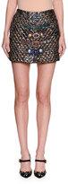 Dolce & Gabbana Matelassé Jacquard Miniskirt with Belts, Blue/Gold
