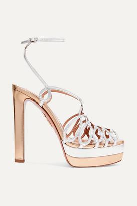 Aquazzura Monroe Plateau 130 Two-tone Metallic Leather Platform Sandals - Gold